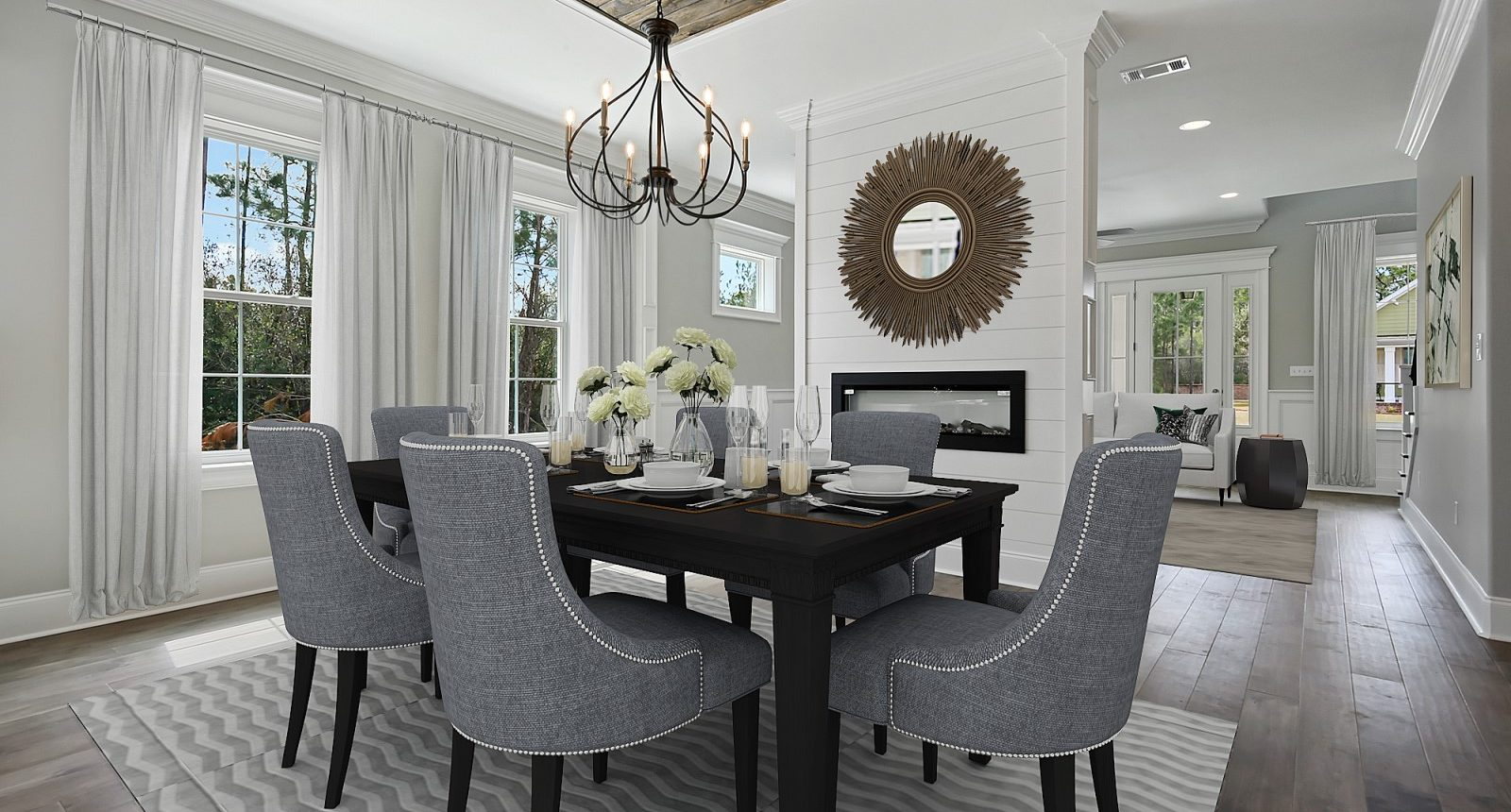 Dining room with double-sided fireplace