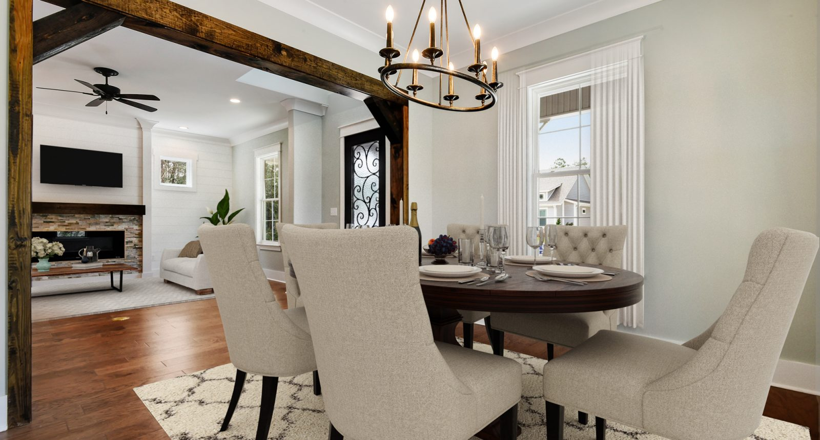 Dining room inspired by a modern vineyard