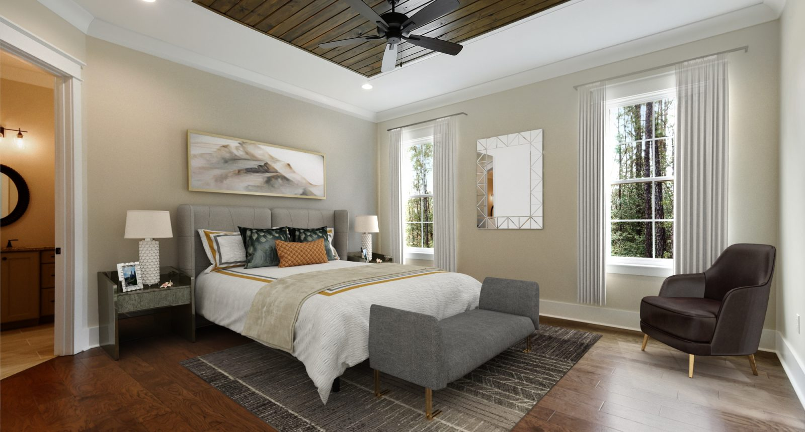 Master bedroom with wood details